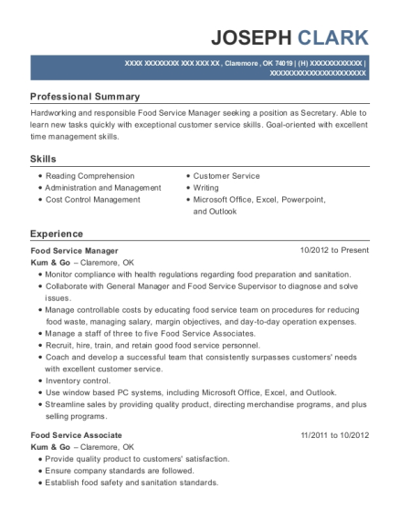 Food Service Manager resume example Oklahoma