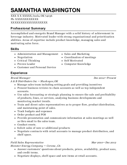 Brand Manager resume format Oklahoma