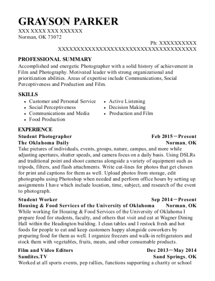 Student Photographer resume example Oklahoma