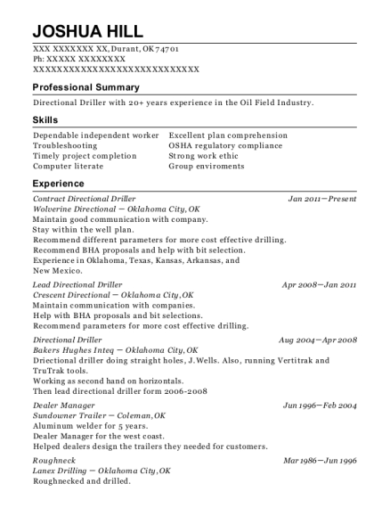 Contract Directional Driller resume sample Oklahoma
