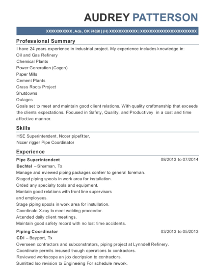 Pipe Superintendent resume format Oklahoma