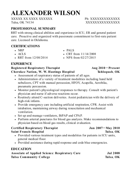 Registered Respiratory Therapist resume template Oklahoma