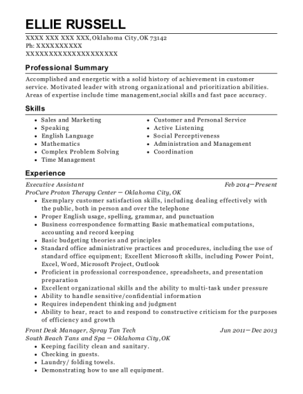 Executive Assistant resume format Oklahoma