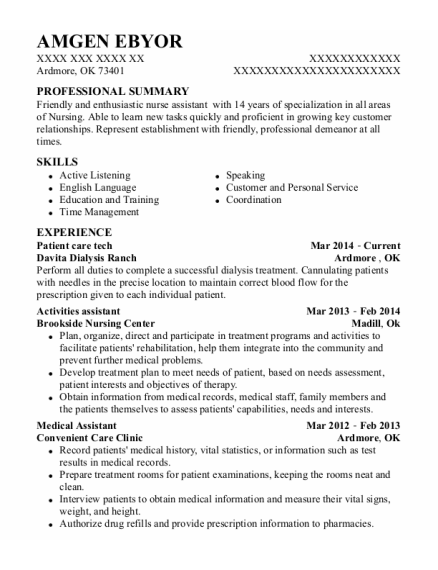 Patient care tech resume sample Oklahoma
