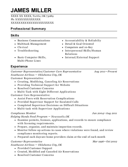 Customer Representative resume example Oklahoma