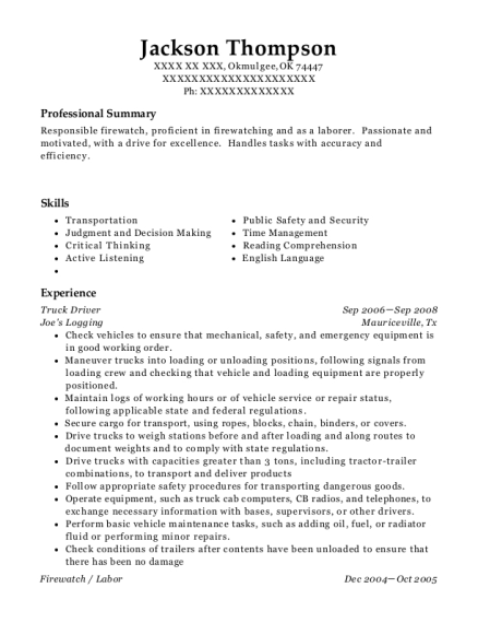 Truck Driver resume template Oklahoma