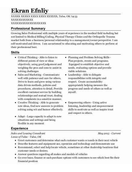 Sales And Leasing Consultant resume format Oklahoma