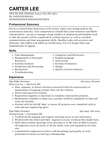 silverbridge company pipe fitter resume sample