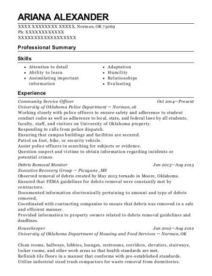 Community Service Officer resume sample Oklahoma