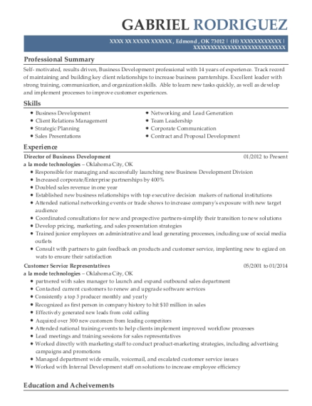 Director of Business Development resume template Oklahoma