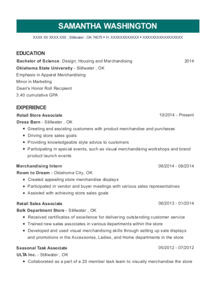 Retail Store Associate resume example Oklahoma