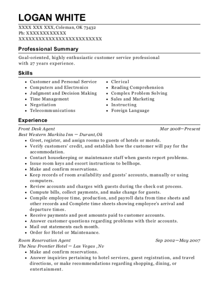 Front Desk Agent resume template Oklahoma
