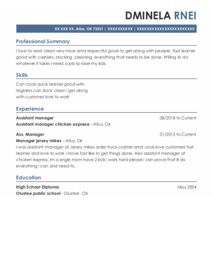 Assistant Manager resume sample Oklahoma