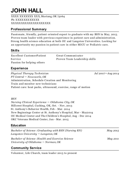Physical Therapy Technician resume example Oklahoma
