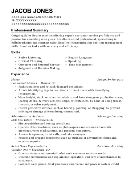 Mover resume example Oklahoma