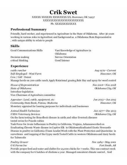 Cattle Feedlot Employee resume sample Oklahoma