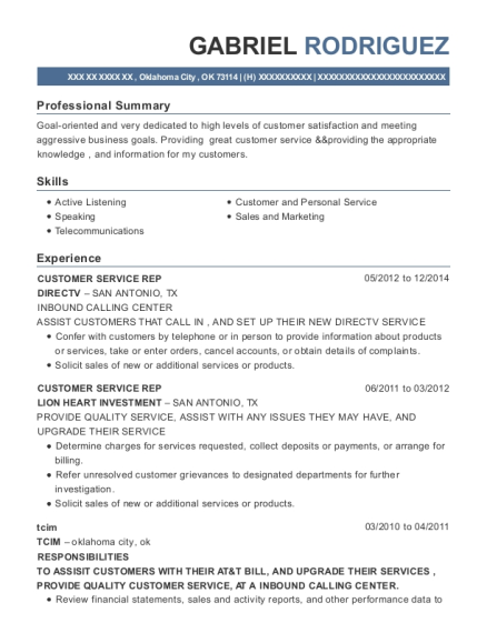CUSTOMER SERVICE REP resume example Oklahoma