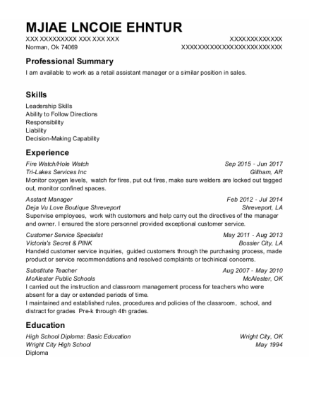 Fire Watch resume example Oklahoma