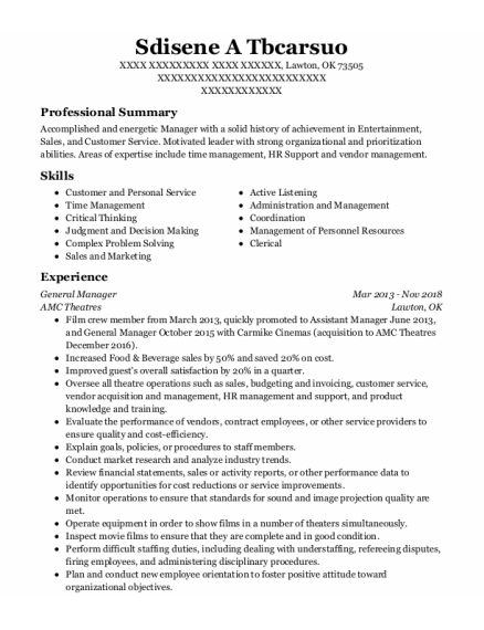 General Manager resume example Oklahoma
