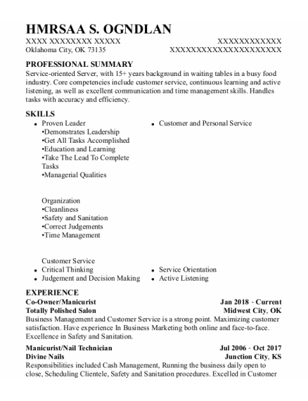 Co-Owner resume example Oklahoma