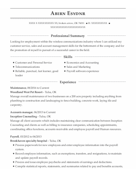 Maintenance resume format Oklahoma