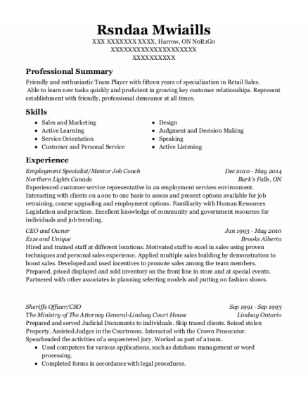 Employment Specialist resume format ON