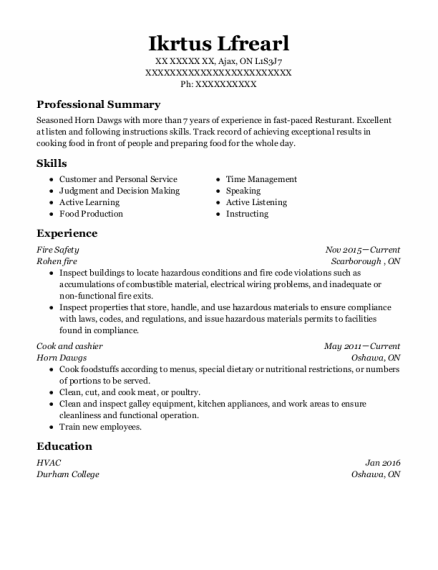 Fire Safety Director resume example ON
