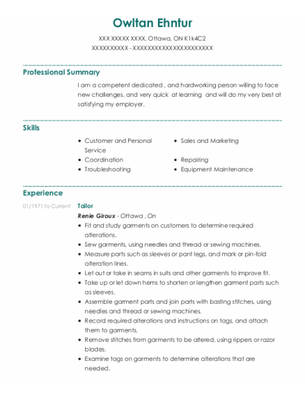 Tailor resume example ON