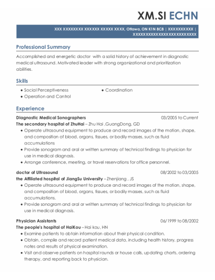 Diagnostic Medical Sonographers resume template ON
