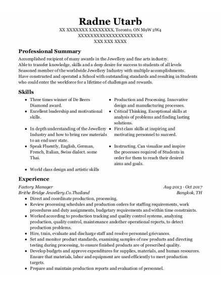 Factory Manager resume sample ON