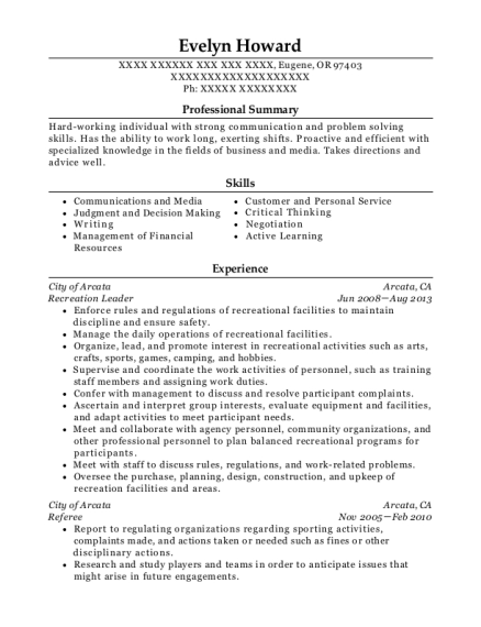 Recreation Leader resume example Oregon