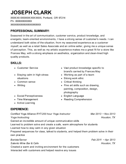Certified Yoga Alliance RYT 200 hour Yoga Instructor resume example Oregon