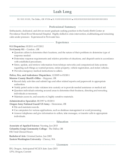 911 Dispatcher resume example Oregon