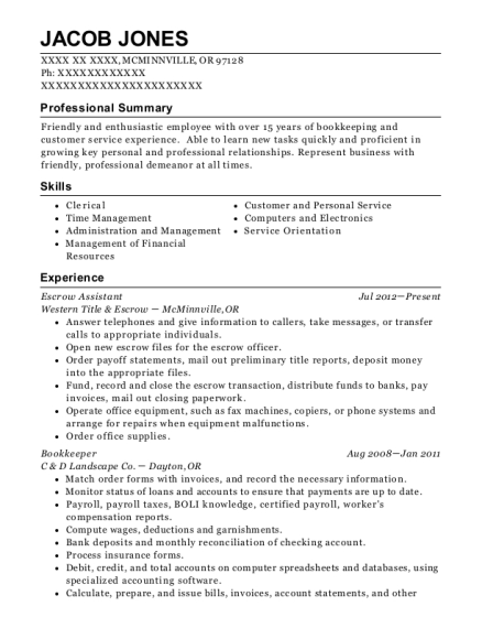 Escrow Assistant resume sample Oregon