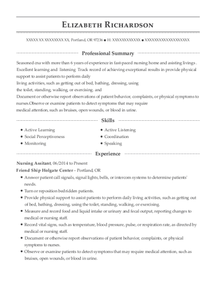 Nursing Assitant resume example Oregon