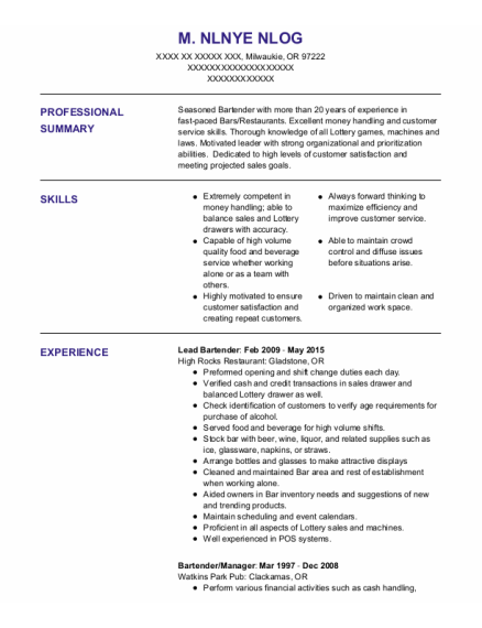 Lead Bartender resume example Oregon