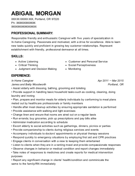 In Home Caregiver resume sample Oregon