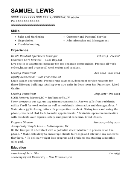 Onsite Resident Apartment Manager resume format Oregon