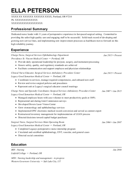 Charge Nurse resume format Oregon