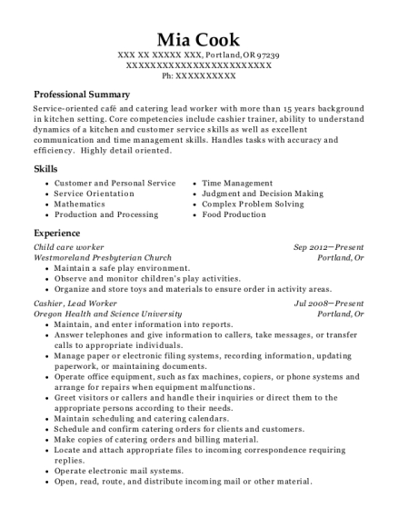 Child care worker resume example Oregon