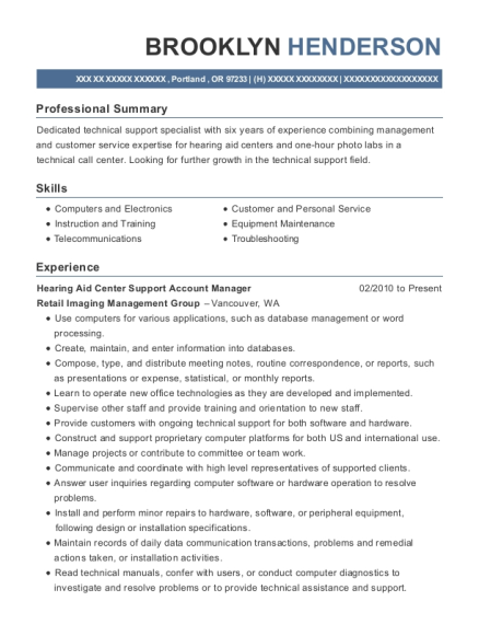 Hearing Aid Center Support Account Manager resume format Oregon