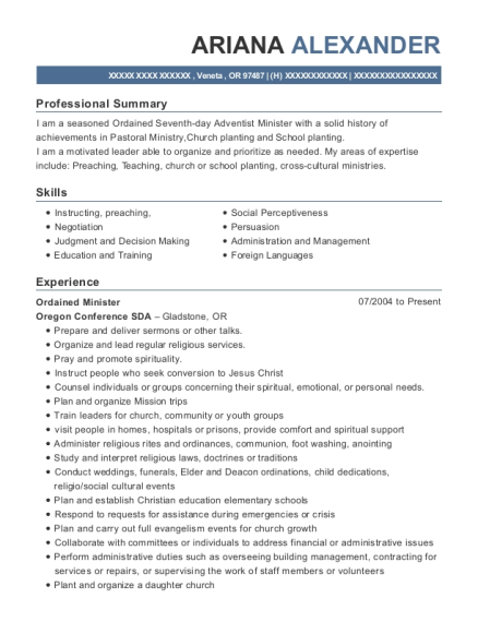Ordained Minister resume example Oregon