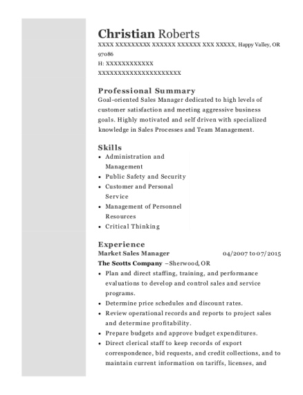 Market Sales Manager resume template Oregon