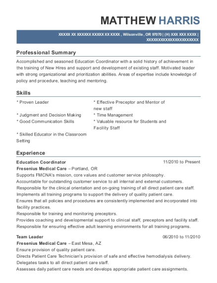 Education Coordinator resume template Oregon