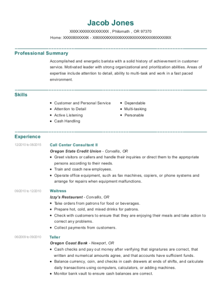 Call Center Consultant II resume sample Oregon