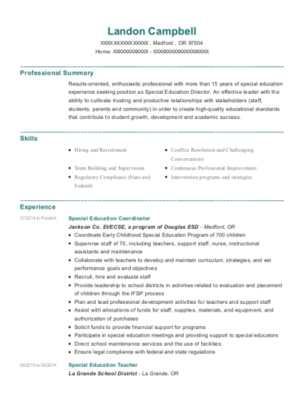 Special Education Coordinator resume sample Oregon