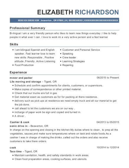 mover and packer resume format Oregon