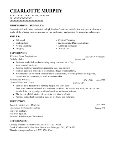 Wireless Sales Professional resume template Oregon