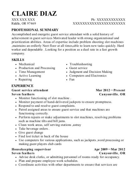 Guest service attendant resume sample Oregon