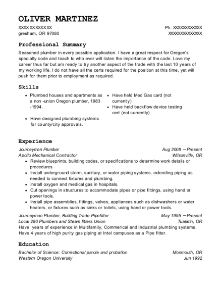 Journeyman Plumber resume format Oregon